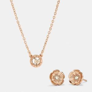 COACH Circle Necklace & Tea Rose Stud Earrings Set